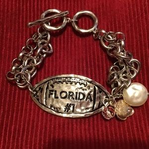 FLORIDA toggle silver hammered bracelet football